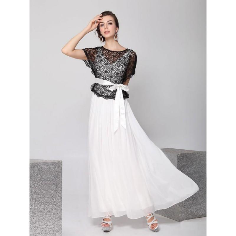 černo-bílé dlouhé společenské šaty pro matku nevěsty Barva: Bílá, Velikost: S