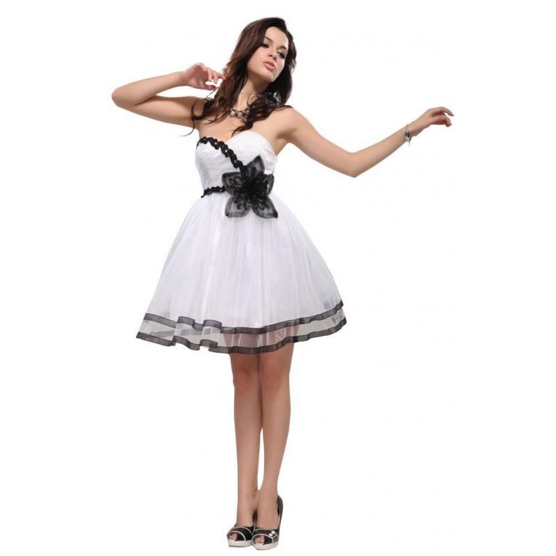 luxusní krátké bílo-černé společenské šaty Barva: Bílá, Velikost: S-M