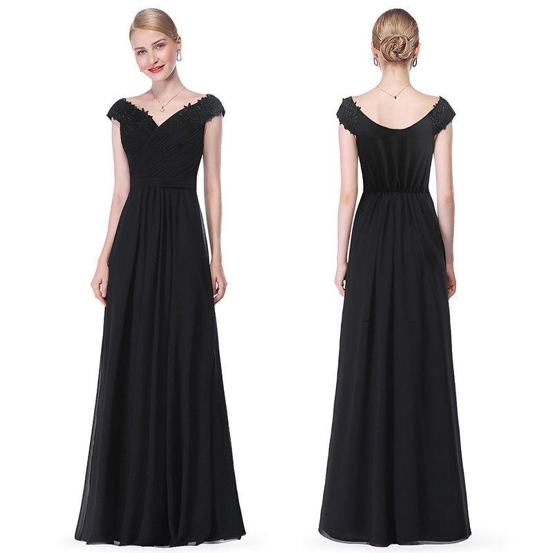černé dlouhé společenské šaty na ramínka Barva: Černá, Velikost: M