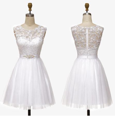 bílé krátké svatební nebo společenské šaty Claudia S Barva: Bílá, Velikost: S