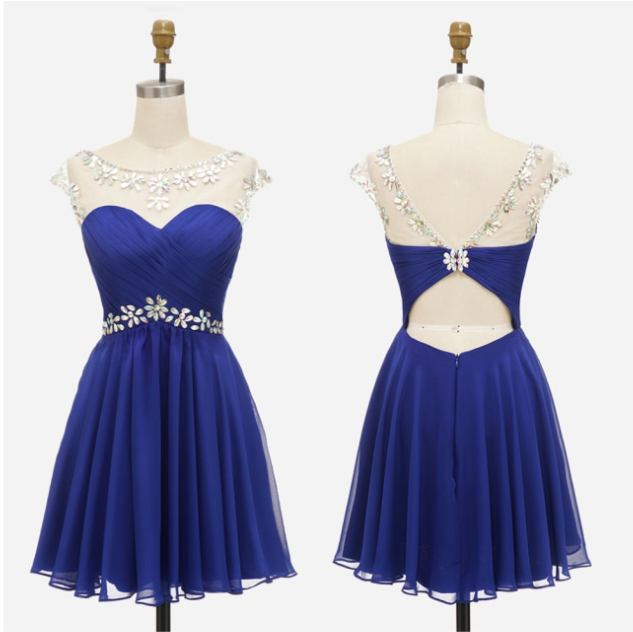 tmavě modré krátké společenské šaty do tanečních Claudia XS Barva: Tmavě modrá, Velikost: XS