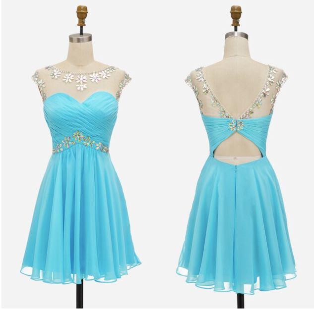 světle modré krátké společenské šaty do tanečních Claudia S Barva: Světle modrá, Velikost: S
