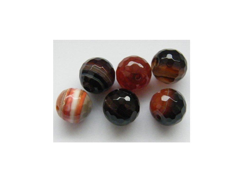 Achát hnědo-červený, kulička fazetovaná 10mm