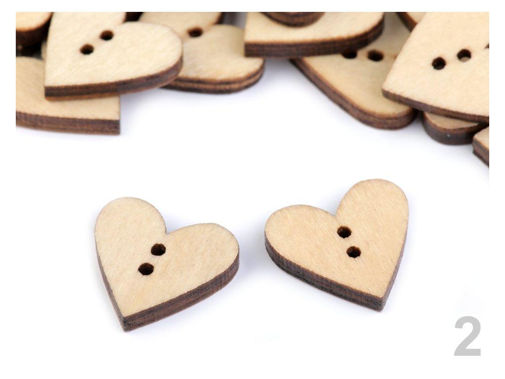 Dřevěný dekorační knoflík srdce 120344, buk