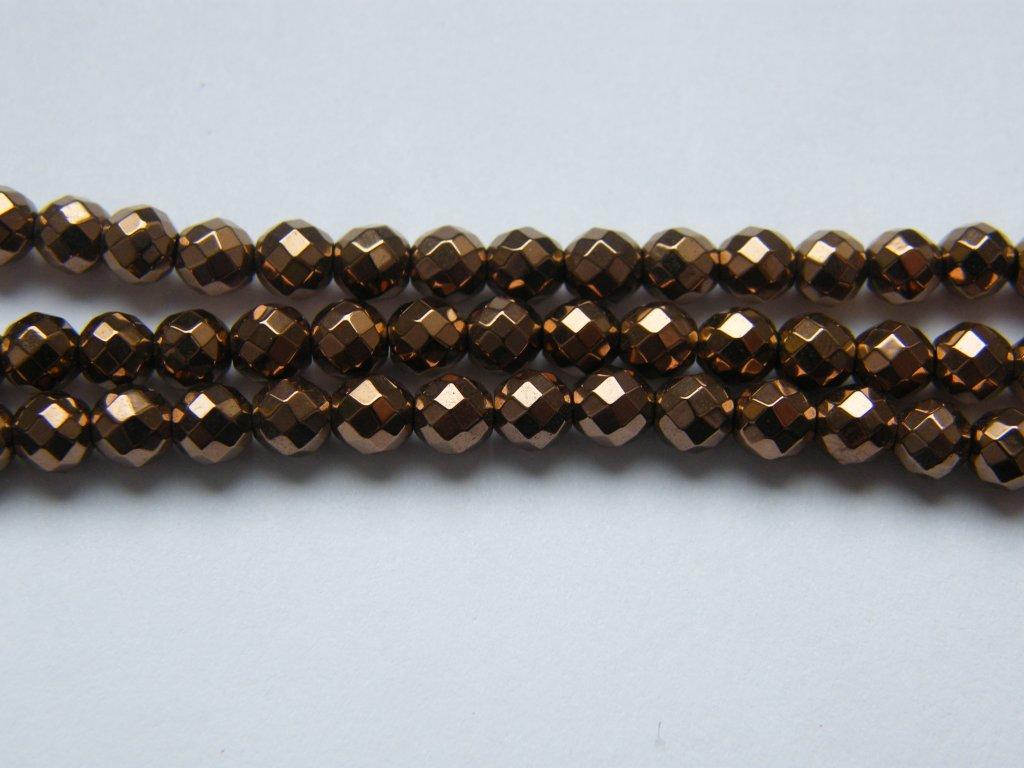 Hematit bronzový, kulička fazetovaná 4mm