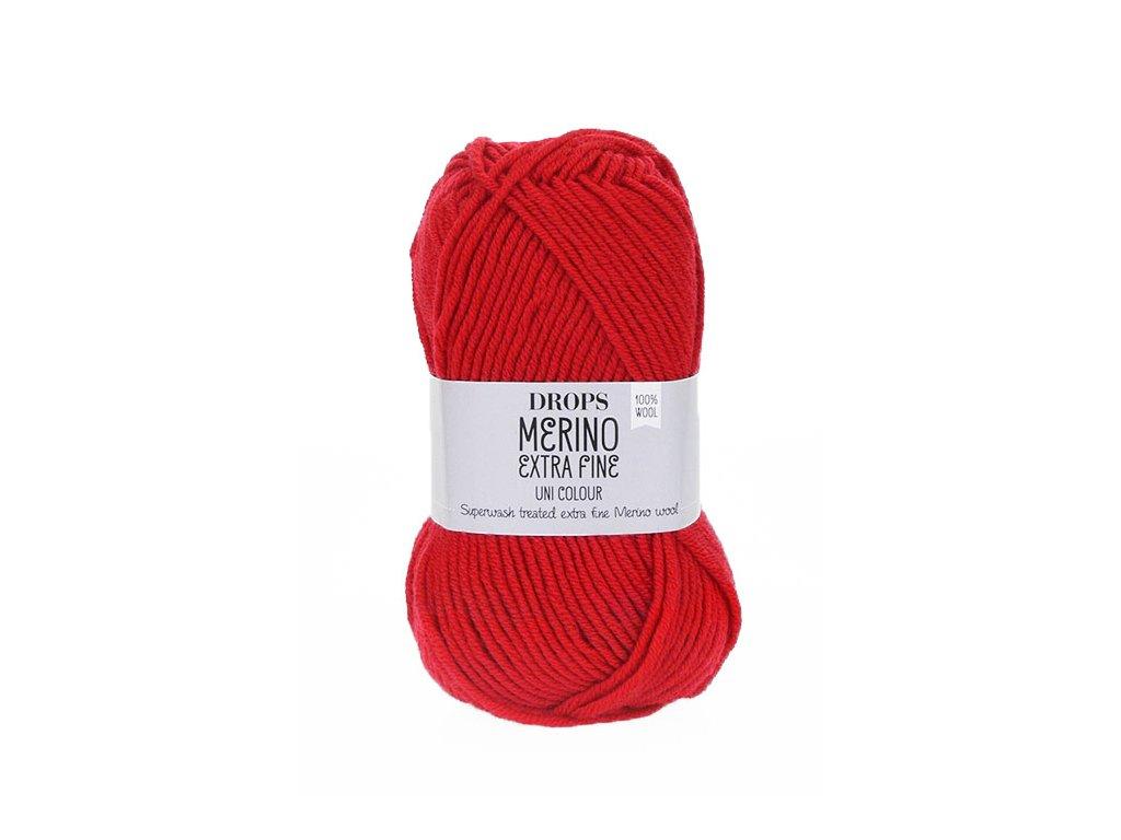Příze DROPS Merino Extra Fine uni color 11 - červená