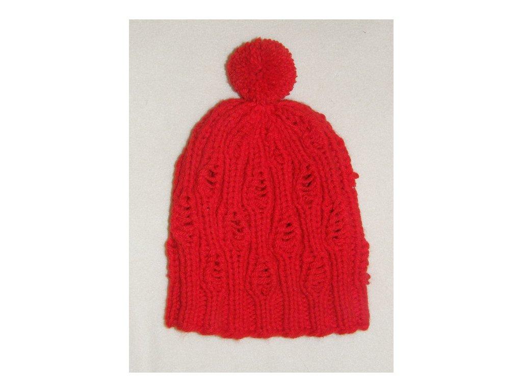 Čepice s bambulí červená, 1457
