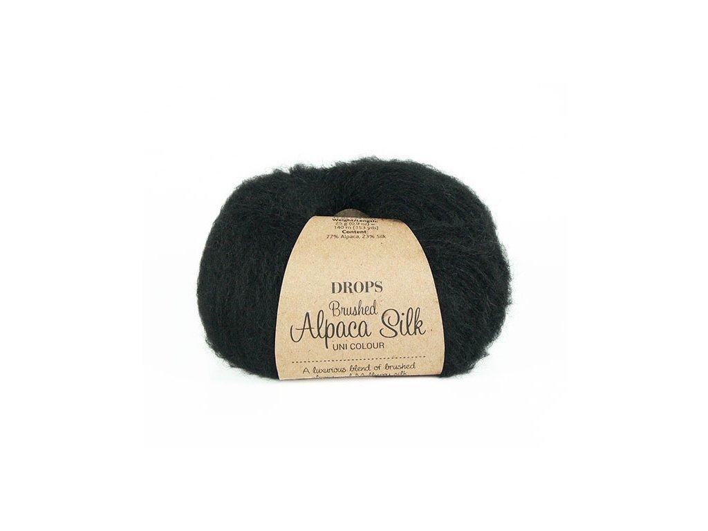 Příze DROPS Brushed Alpaca Silk 16 - černá