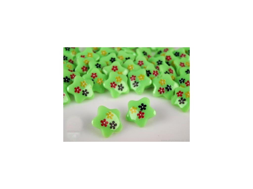 """Knoflík plastový 30"""" (18 mm) Hvězdička - zelená"""