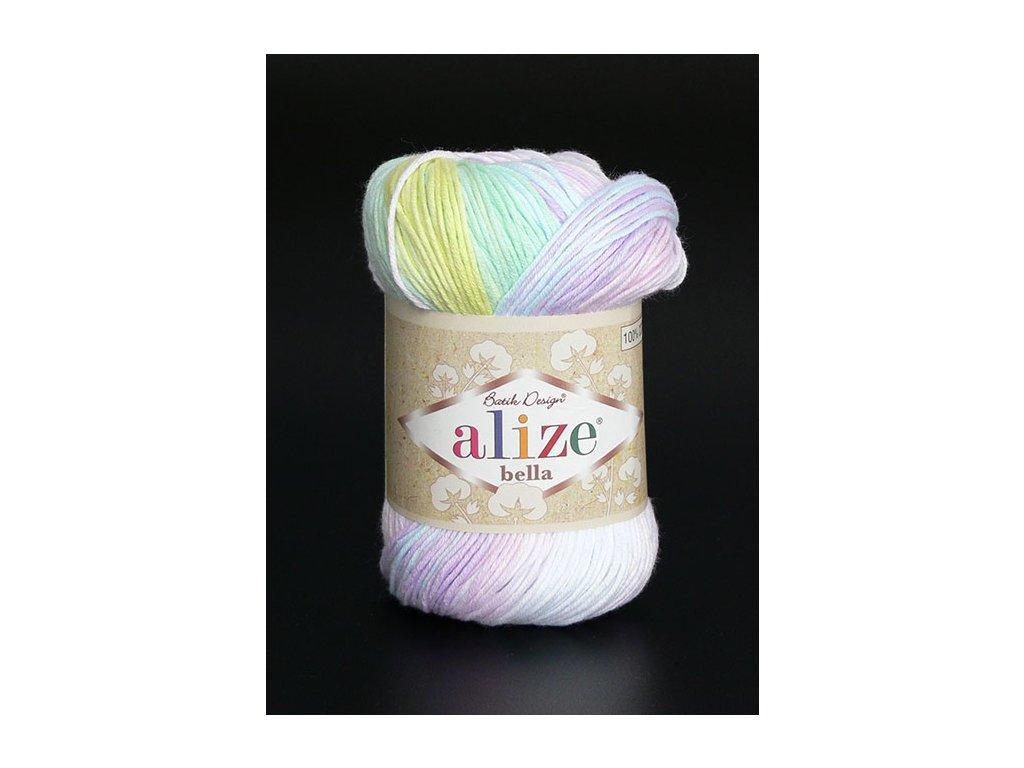 Příze Bella Batik 2132 - bílá, žlutá, zelená, bleděmodrá růžová, sv. fialová
