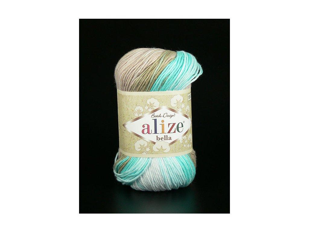 Příze Bella Batik 3675 - béžová s odstíny modré