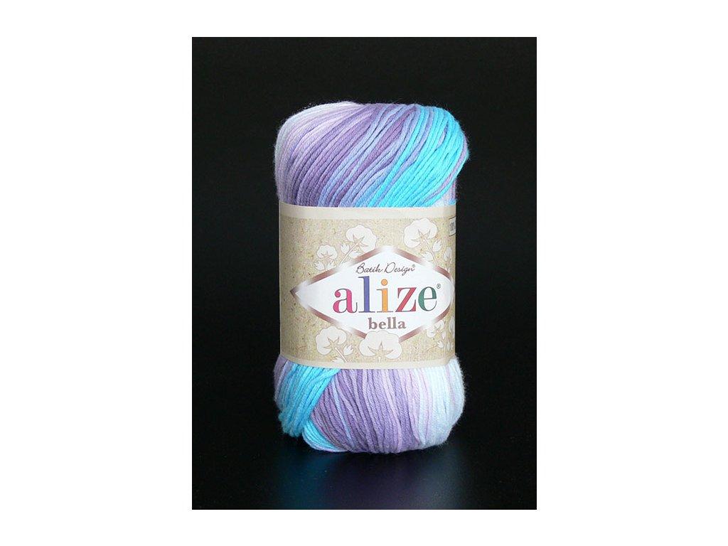 Příze Bella Batik 3677 - bílá, modrá, fialová