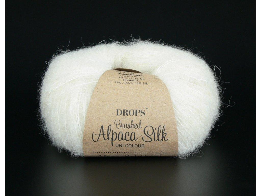 Příze DROPS Brushed Alpaca Silk 01 - smetanová