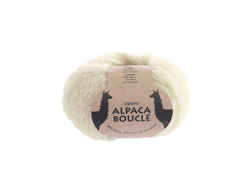 Příze DROPS Alpaca Bouclé uni colour 0100 - smetanová
