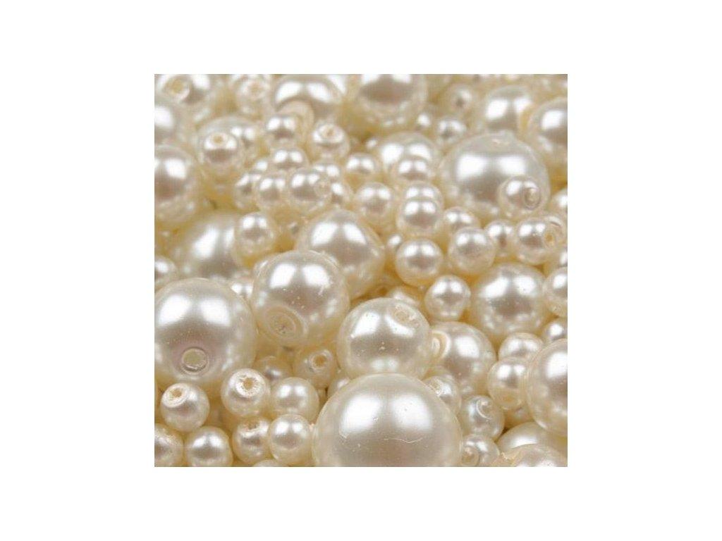 Voskované korálky mix velikostí 4-12mm, 50g, krémová