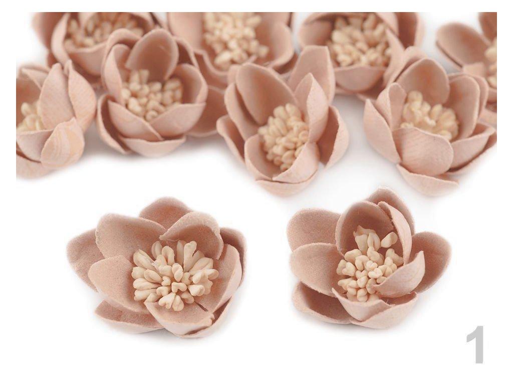 Aplikace květ s pestíky 30 mm 780764 - 1 pudrová