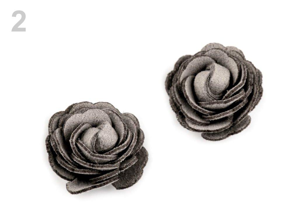 Aplikace květ růže 20 mm 780163 - 2 šedá holubí