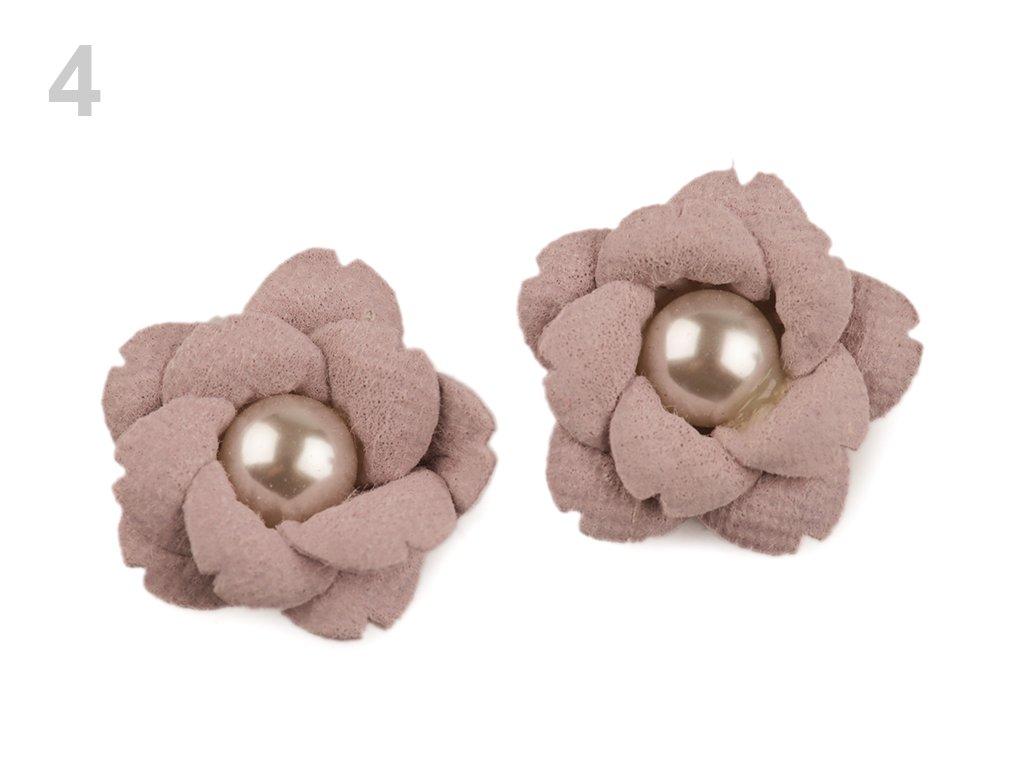 Aplikace květ s perlou 23 mm 780158 - 4 pudrová