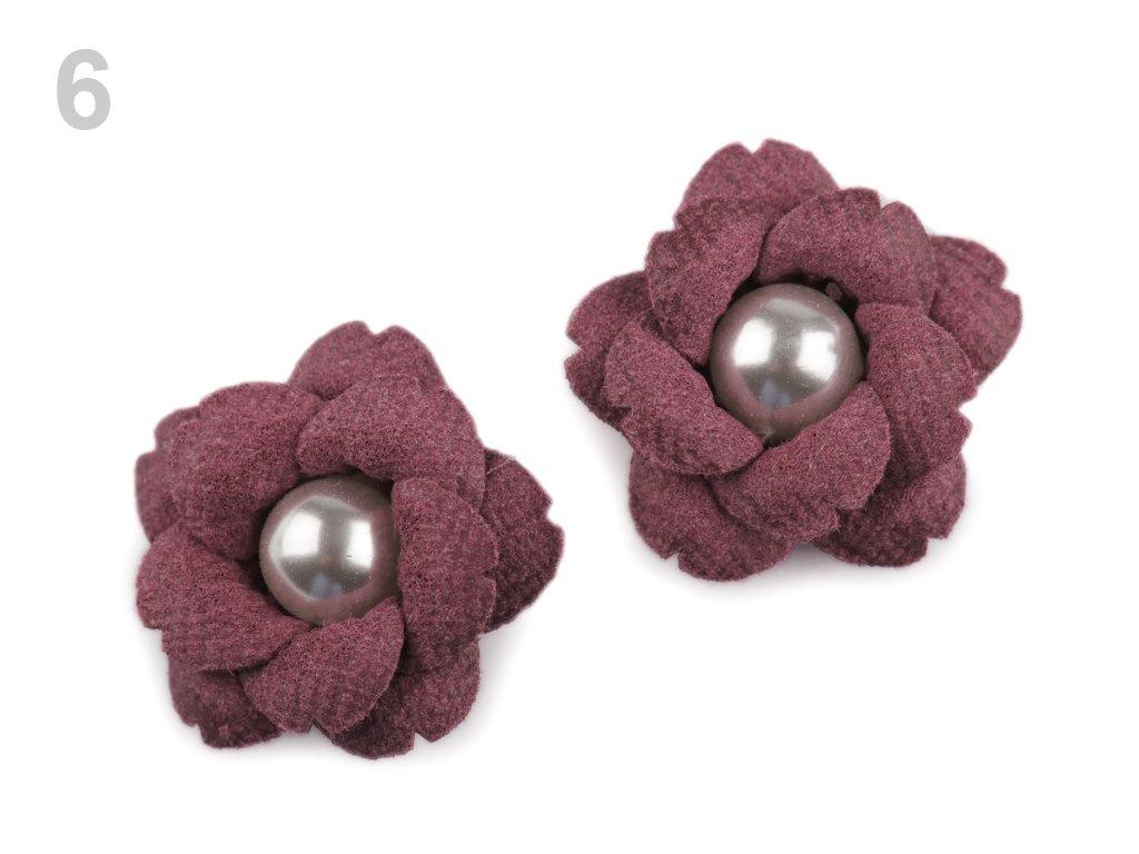Aplikace květ s perlou 23 mm 780158 - 6 vínová