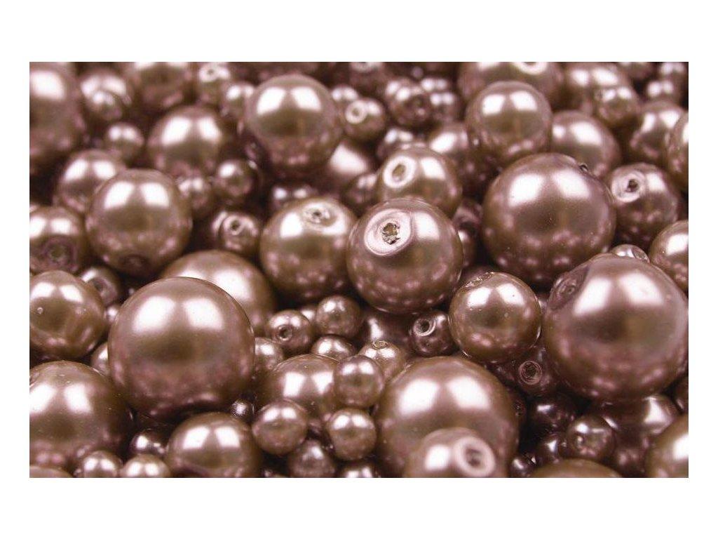 Voskované korálky náhodný mix velikostí 4-12mm, 50g, světlá čokoládová