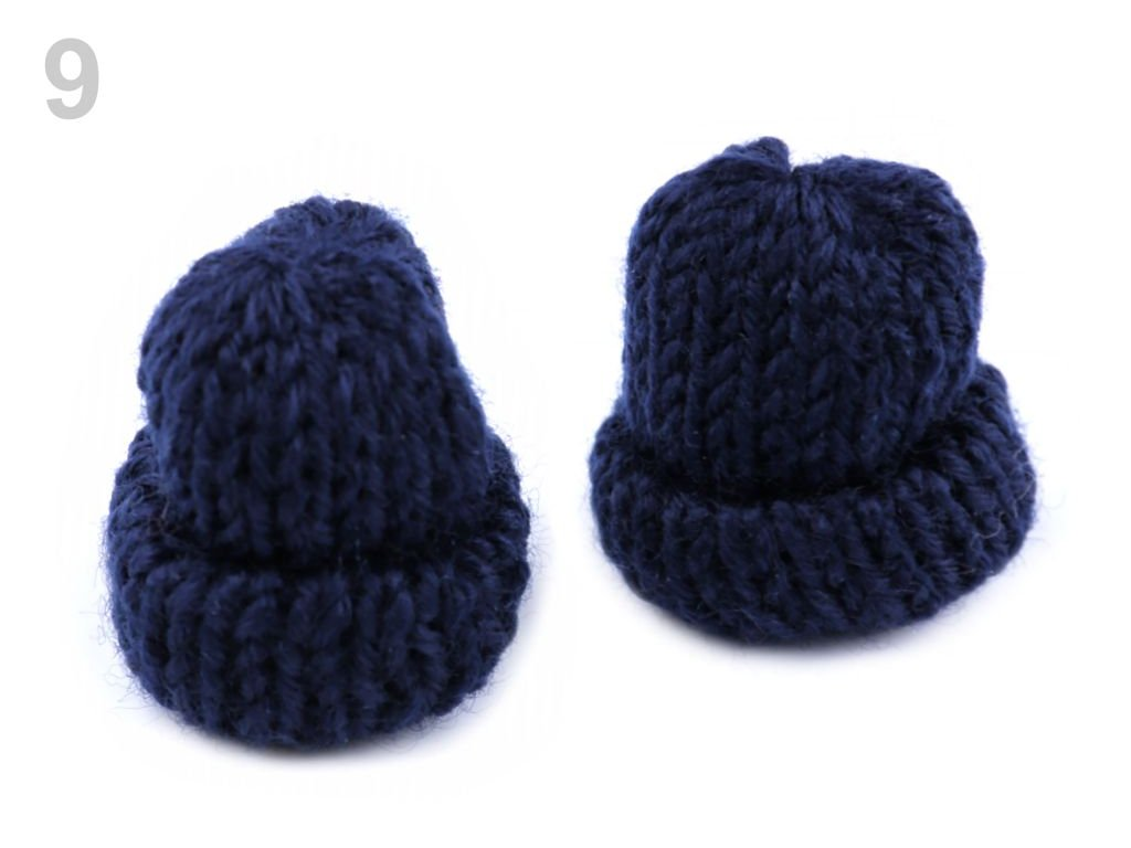 Aplikace Čepička pletená 400043 - 9 tmavá modrá