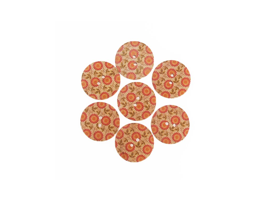 """Knoflík dřevěný 48"""" (30,5 mm) Květ - oranžová mrkvová"""