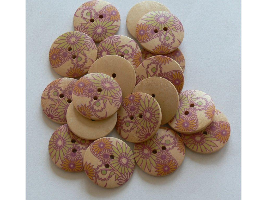 """Knoflík dřevěný 48"""" (30,5 mm) Květ - 6 fialová světlá"""