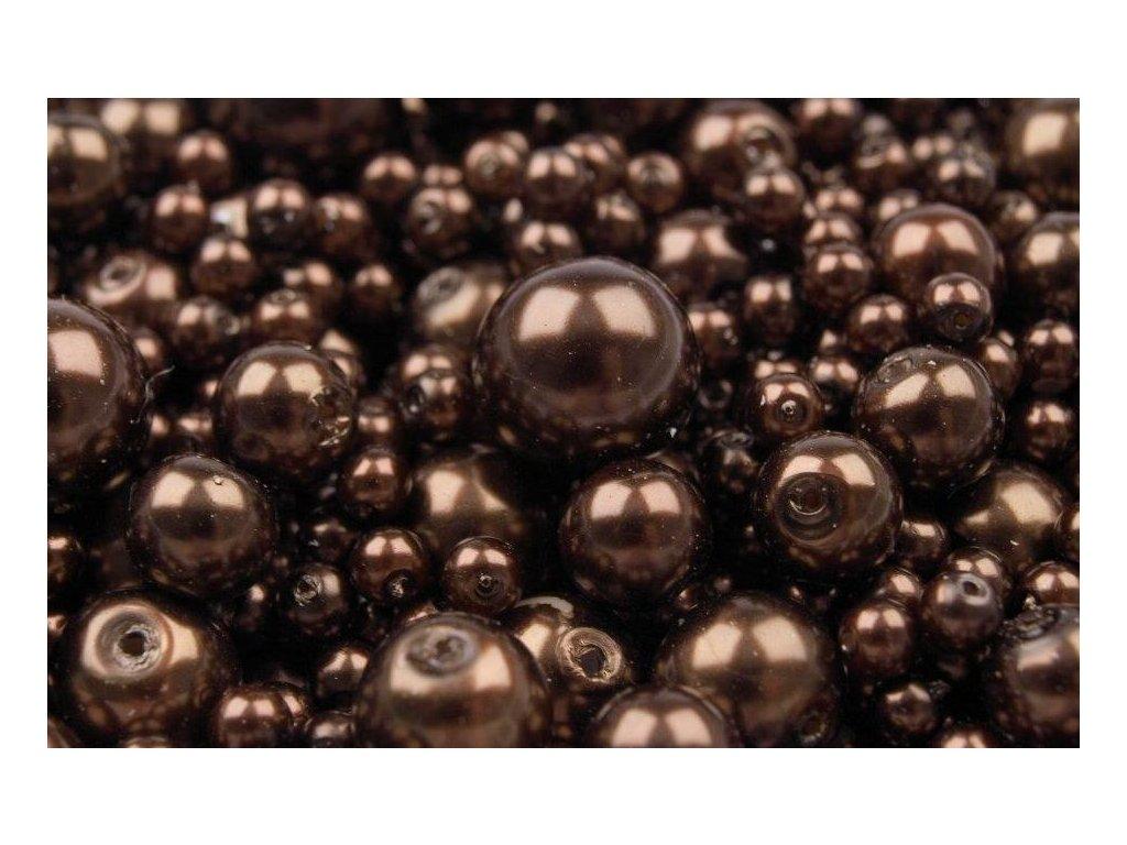 Voskované korálky náhodný mix velikostí 4-12mm, 50g, tmavě hnědá