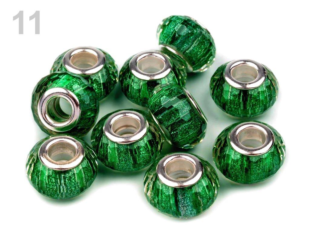 Plastové broušené korálky s velkým průvlekem 9x14 mm 200607 - 11 zelená pastelová