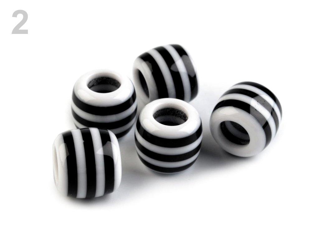 Plastové korálky s velkým průvlekem 10x12 mm 200829 - 2 bílá s černým proužkem