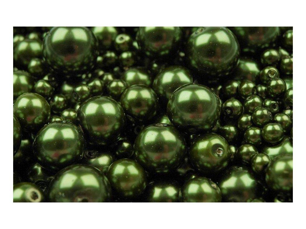 Voskované korálky náhodný mix velikostí 4-12mm, 50g, olivová