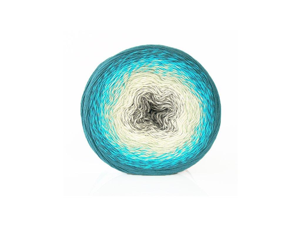 Příze Flowers 289 - modrozelená-tyrkysová-světlezelená-bílá-šedá