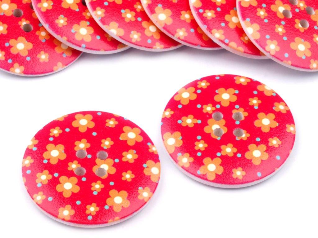 """Knoflík dřevěný 60"""" (38,1 mm) Květ 110971 - červená"""