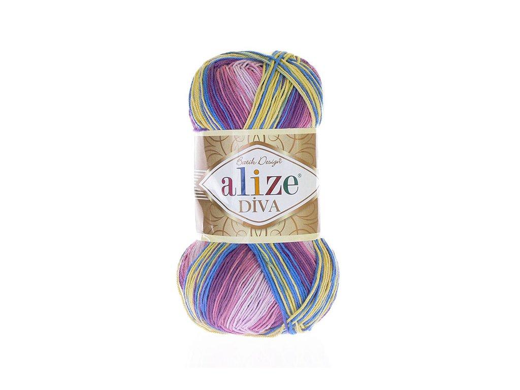 Příze Diva Batik 6794 - žlutá, modrá, odstíny fialové a růžové