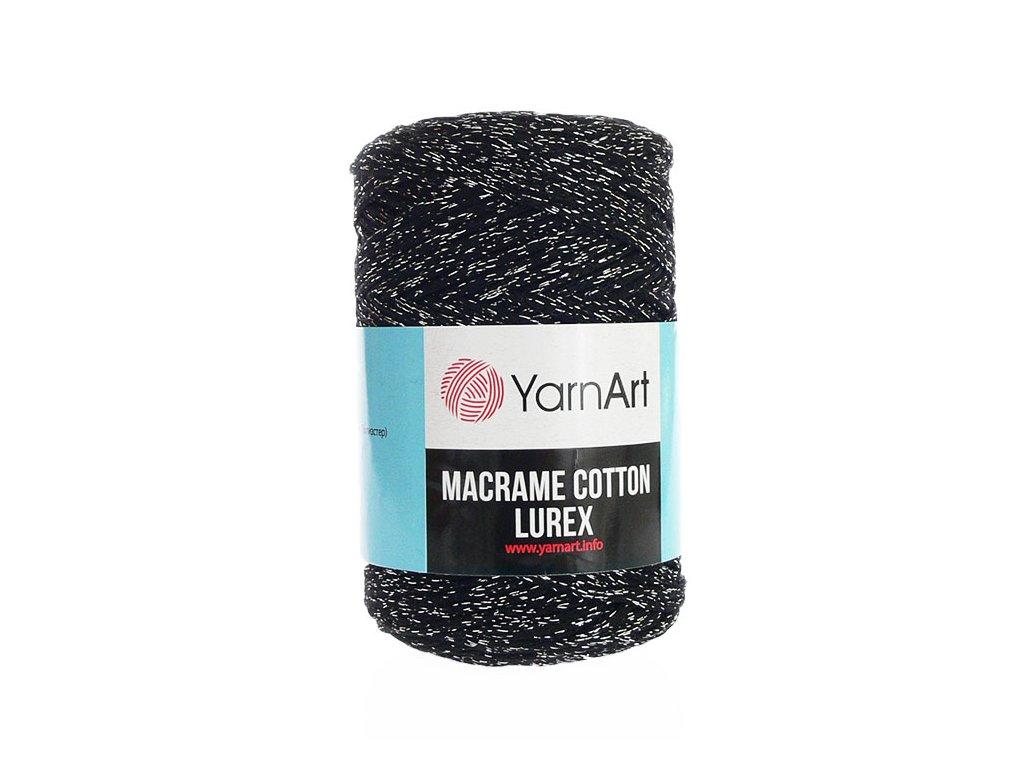 Příze Macrame Cotton Lurex 723 - černá se stříbrnou nitkou