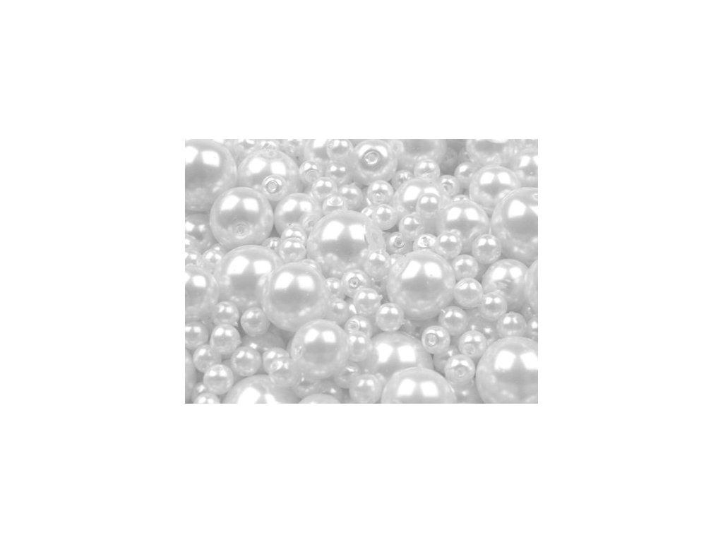 Voskované korálky mix velikostí 4-12mm, 50g,bílá