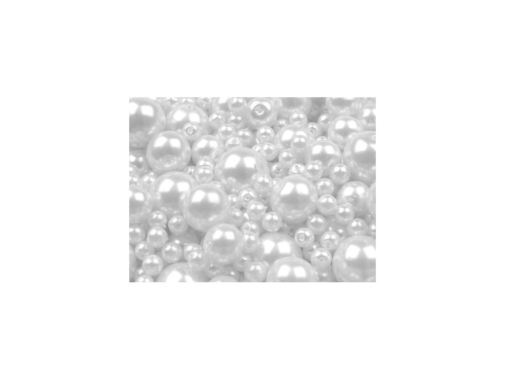 Voskované korálky náhodný mix velikostí 4-12mm, 50g,bílá