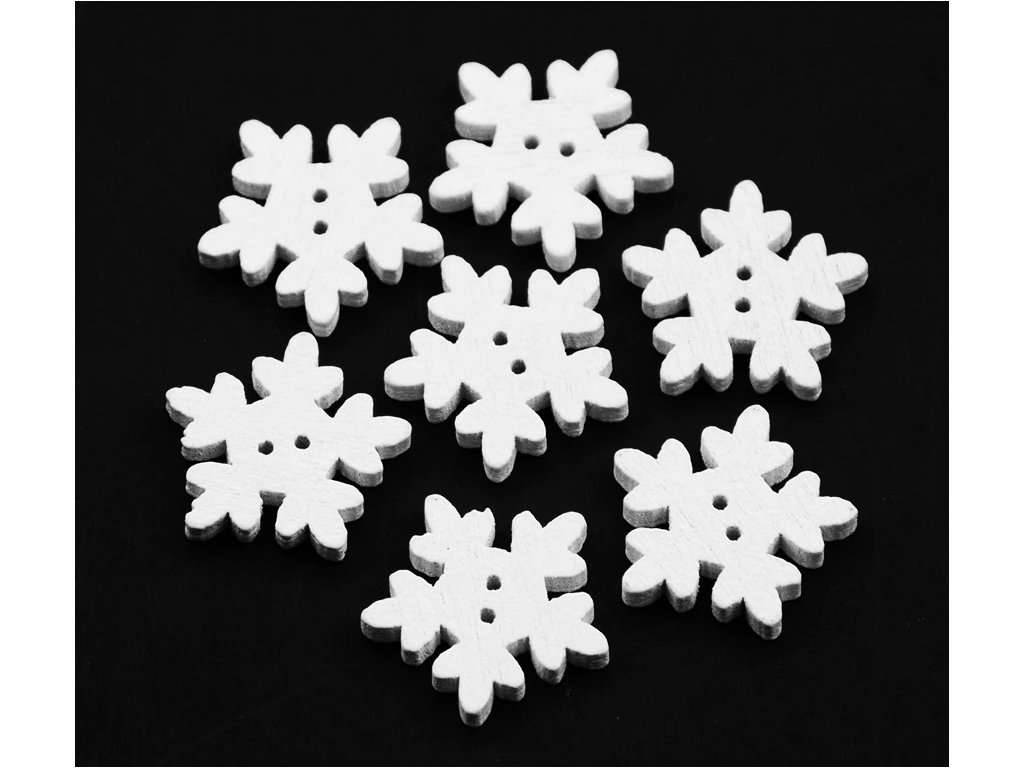 snowflake button white