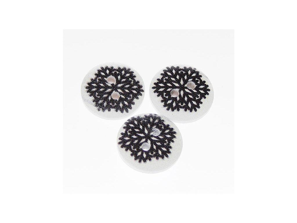 Knoflík dřevěný 15 mm Vločka - bílá s černým potiskem 5