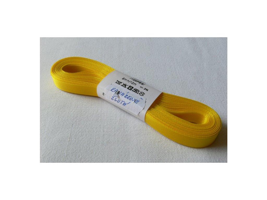 Stuha taftová 9 mm, kanárkově žlutá - 207