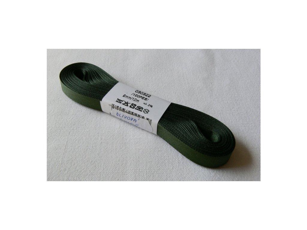 Stuha taftová 9 mm, olivová - 322