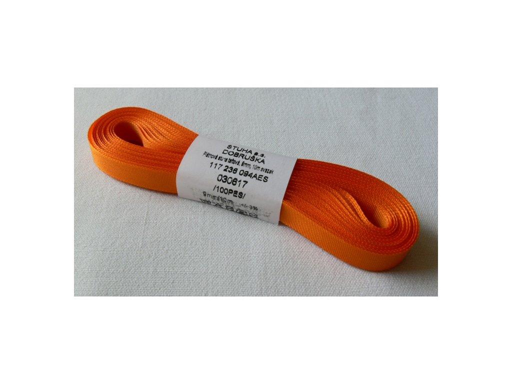 Stuha taftová 9 mm, oranžová - 617