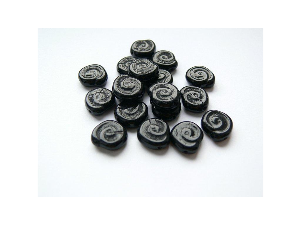 Mačkané korálky tvarové, šnek černý, 12x11mm,