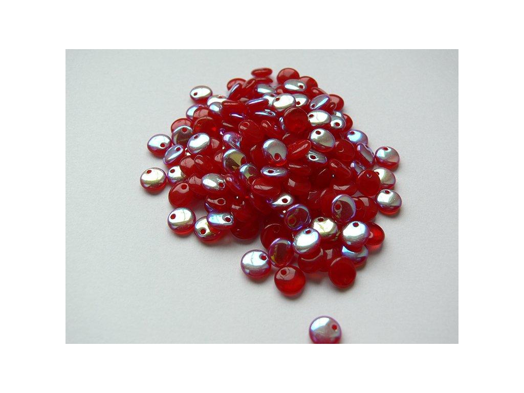 Mačkané korálky tvarové,  čočka 6 mm, červená s efektem