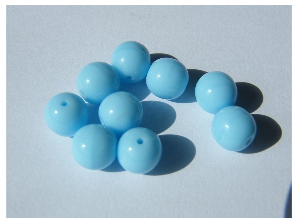 Korálky mačkané kulaté 8mm, 63010 - světle modrá