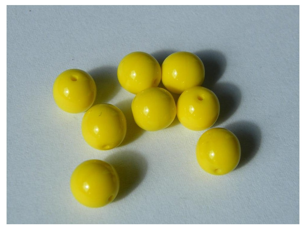 Korálky mačkané kulaté 8mm, 83120 - jasná žlutá