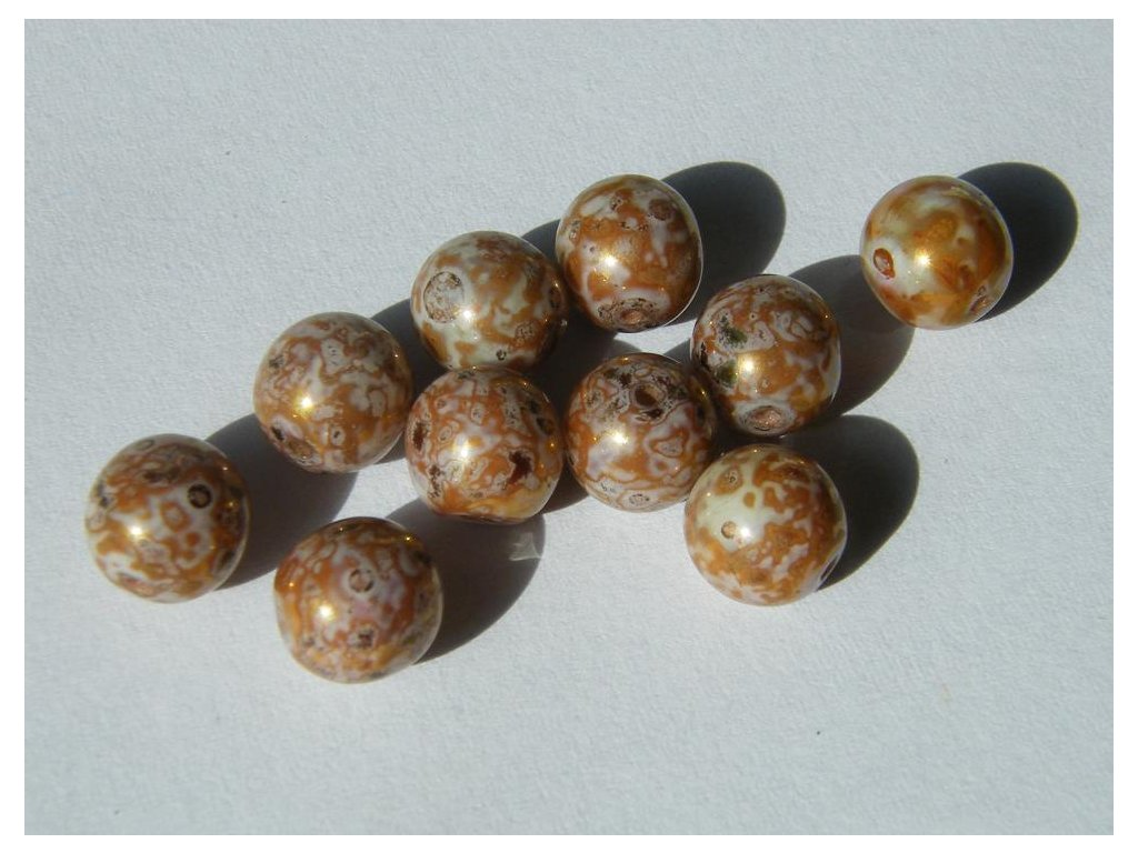 Korálky mačkané kulaté 8mm, 03000/15422 - mramor bílo-hnědo-zlatý