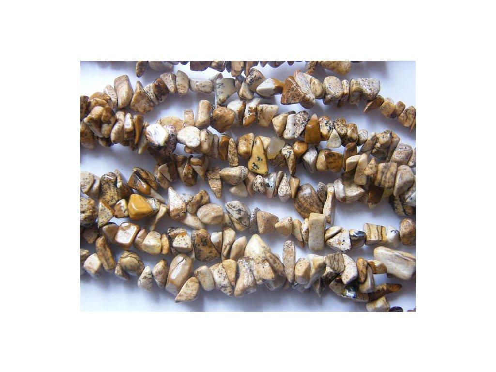 Jaspis obrázkový, zlomky, 10cm návleku, cca 5-7g