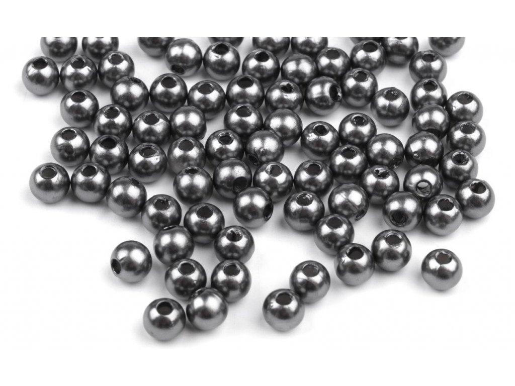 Korálky GLANCE plast kulička 4mm voskované, 5g, šedá 13