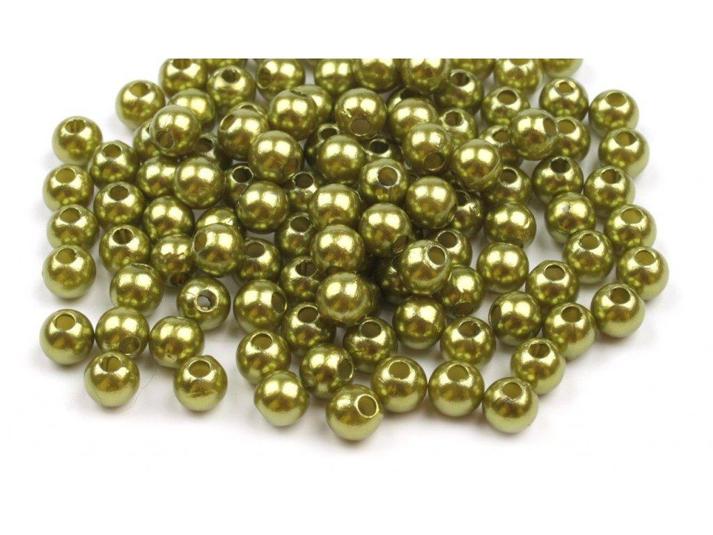 Korálky GLANCE plast kulička 4mm voskované, 5g, zelenožlutá 10